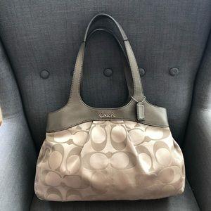 COACH Khaki Fabric & Leather Hobo Bag